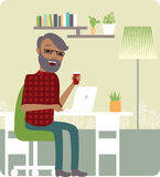 Freelancer at work. Young man freelancer working from home office royalty free illustration