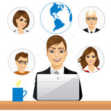 Freelancer working in collaboration with coworkers over internet Royalty Free Stock Images