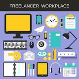 Freelancer workplace icons set Stock Photography