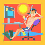 Freelancer works resort computer. Man in swimming trunks at the resort is working at the computer. Office dream or Freelancer stock illustration