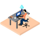A freelancer works. Workplace. Home workspace. A man sits at a D Royalty Free Stock Photo