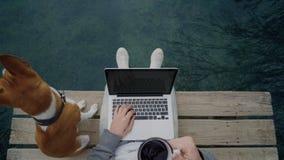 Freelanceren arbetar på hans bärbar dator som är utomhus- bredvid sjön som sitter på dammet stock video