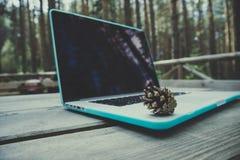 Freelancerlaptop computer in het bos op houten geweven Royalty-vrije Stock Afbeelding