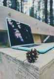 Freelancerlaptop computer in het bos op houten geweven Stock Fotografie