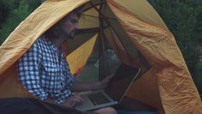 Freelancerman som arbetar genom att använda bärbara datorn som sitter i ett campa tält på skogfreelanceren som arbetar på nytt st lager videofilmer