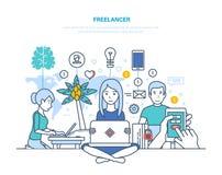 Freelancers, daleka praca Miejsce pracy freelancer, wyposażenie, techniczny wyposażenie, workspace royalty ilustracja