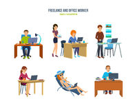 Freelancers and office workers in various situations and environments. Stock Images