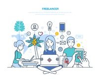 Freelancers, remote work. Workplace of freelancer, equipment, technical equipment, workspace. Concept of freelancers and remote work. Modern workplace of Royalty Free Stock Photos
