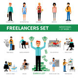 Freelancers Set With Advantages of Work Stock Photography