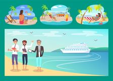 Freelancers Work with Comfort at Sandy Beaches Set. People in office suits and swimwear on beach under tall palms cartoon vector illustrations set vector illustration