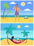 Freelancersman en Vrouw op Tropische Strandvector royalty-vrije illustratie