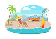 Freelancervrouw in Groot Straw Hat Resting Seashore stock illustratie