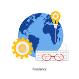 Freelancing. Freelance concept. Abstract flat  illustration of design and development concept. Element for mobile and web applications Royalty Free Stock Images