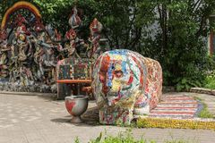 Mosaic objects in the yard. Freely accessible for examination of the exposition of mosaic art in the courtyard of residential buildings Stock Photo