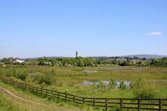 Freeman`s Pools nature reserve. Lancaster, England. View over Freeman`s Pools, a Wildlife Trust for Lancashire nature reserve, alongside the Lancaster to Glasson stock image