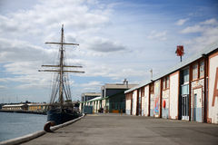 Freemantle wharf in Perth. Tall sailing ship moored in Freemantle wharf, Perth, Western Australia stock image