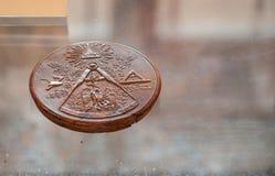 Freemason sign on wax. Wax sign of freemason called cagliostro in san leo italy stock photography