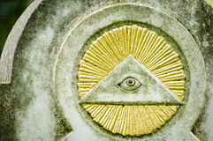 Freemason symbol. The everything seeing eye at a historic tombstone in munich Royalty Free Stock Photography