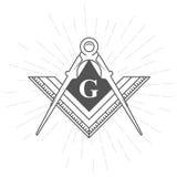 Freemason symbol - illuminati logo. With compasses and ruler Royalty Free Stock Photo
