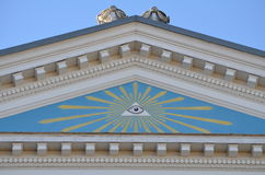 Freemasonry. The All-Seing Eye Of God at the house of a freemasons lodge Royalty Free Stock Images