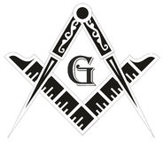 Freemasonry emblem - the masonic square and compass symbol Stock Photos