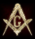 Freemasonry golden medal  square & compass Stock Image