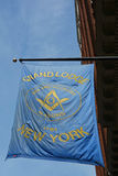 Freemasonry Grand Lodge. The flag of the Grand Lodge, the governing body of Freemasonry, in New York City Stock Images