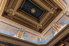 Freemasons Hall ceiling London. Freemasons` Hall in Great Queen Street in London is the headquarters of the United Grand Lodge of England and the Supreme Grand Stock Photos
