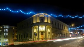 Freemasons Hall on Park Street in Bristol. England. Long Exposure Night Photography, decorative Christmas Lights Royalty Free Stock Photo