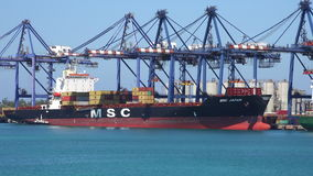 FREEPORT, BAHAMAS-MEI 2016 Vrachtschipdoctorandus in de exacte wetenschappen Japan die met containers in Freeport 4K worden gelad stock footage