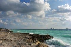 Freeport Coast. Hostile coast of Freeport on Grand Bahama Island, The Bahamas Stock Photography