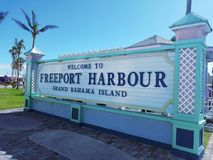 Freeport Harbour Sign Grand Bahama Island. Welcome to Freeport Harbour Sign Grand Bahama Island, at the port stock photos