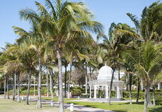 Freeport Town Park. The wooden gazebo surrounded by palms in Freeport town on Grand Bahama Island Stock Image
