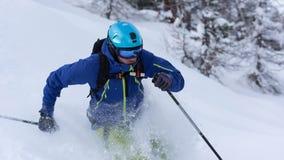 Freeride在深粉末雪的滑雪者滑雪 免版税图库摄影