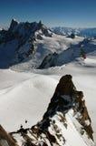 Freeride около Монблана, подъемов лыжи Стоковые Изображения RF