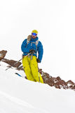Freeride in Caucasus mountains. Winter Royalty Free Stock Images