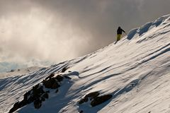 Freeride in Caucasus mountains Royalty Free Stock Photo