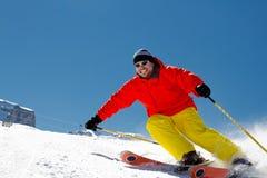 Freeride dans la neige fraîche de poudre Image libre de droits