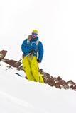 Freeride in de bergen van de Kaukasus Royalty-vrije Stock Afbeeldingen