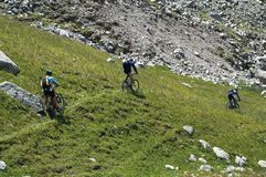 Freeride de cyclistes Photos libres de droits