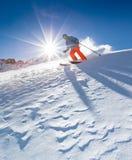Freeride in fresh powder snow. Freeride in fresh powder snow during sunny day Stock Photos