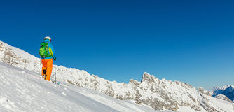 Freeride in fresh powder snow. Royalty Free Stock Images