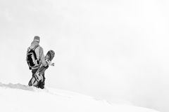Freeride in Georgia. Snowboarder on the top of the mountain Stock Photography