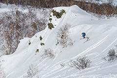 Freeride on  Kamchatka Royalty Free Stock Images