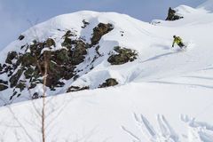 Freeride on  Kamchatka Royalty Free Stock Photography
