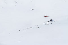Freeride on  Kamchatka. The helicopter in the mountains of Kamchatka Royalty Free Stock Photo