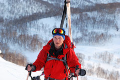 Freeride on Kamchatka. Freeride in Kamchatka. Rise to the top Stock Photography