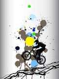 Freeride mountainbiking colorful background with blotches Stock Photography
