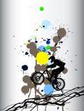 Freeride que mountainbiking o fundo colorido com manchas Fotografia de Stock