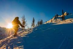 Freeride skidar stigande backlit stigning en sol Royaltyfri Bild